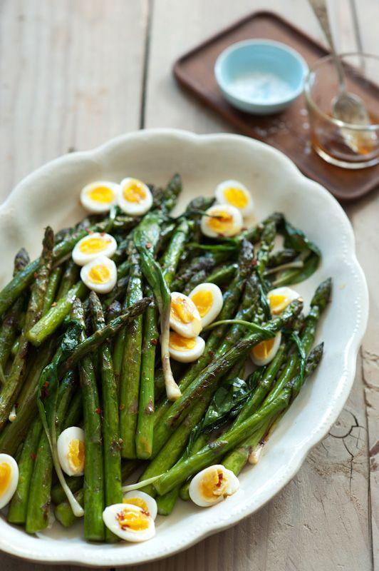 Asparagus & Ramps with Hard-boiled Quail Eggs