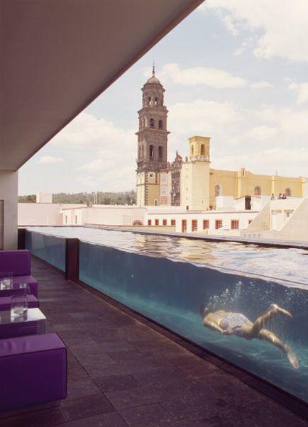 see-through pool at hotel la purificadora, puebla mexico