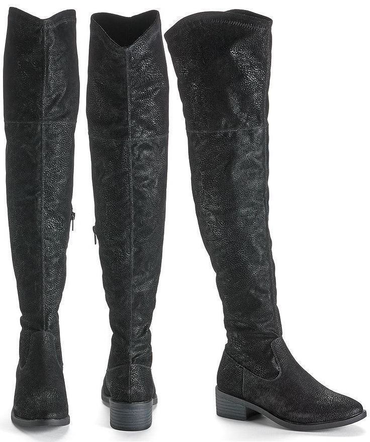 Over-The-Knee Boots LASSO ROCK & REPUBLIC Size 6.5 Black NEW #RockRepublic #OverKneeBoots #Casual