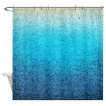 Sea Glass Mosaic fabric Shower curtain - Teal, Aqua, blue, ocean, waves, island, travel, cruise, sea, art, coastal decor, bath, home