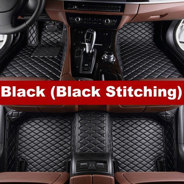 Luxury Diamond Stitched Floor Mats Black With Black Stitching Tesla Full Set Car Floor Mats Floor Mats Volkswagen Touran