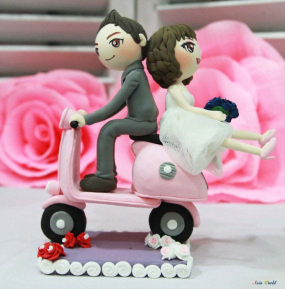 Wedding Cake topper Pink Vespa wedding clay couple by AsiaWorld, $98.50