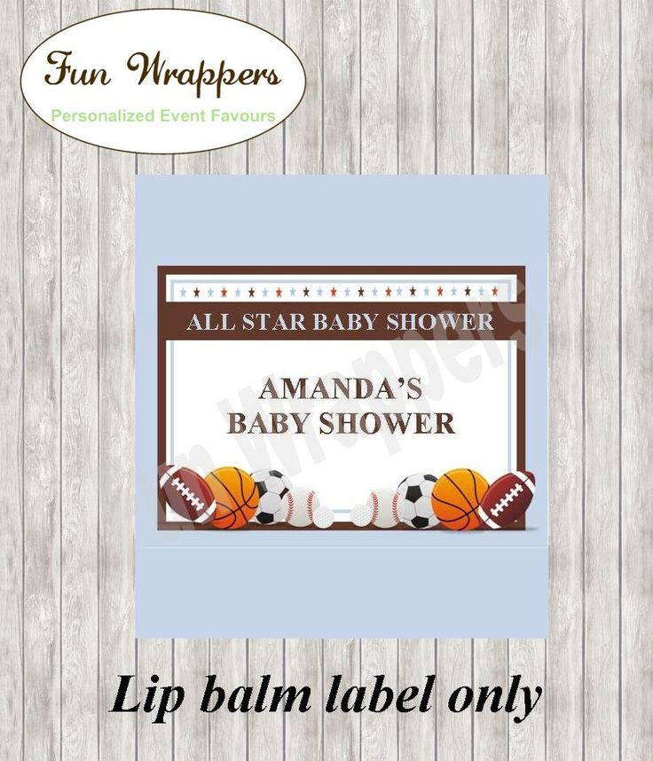 Baby Shower Lip Balm label | Sports Lip Balm label | Baby Shower Chapstick | Sports Chapstick | Baby Shower favor | All Star Baby Shower by FunWrappers on Etsy