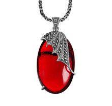 Sterling 925 silver pendant fashion red garnet jewelry thai silver pendant inlaid with marcasite pingente de prata esterlina