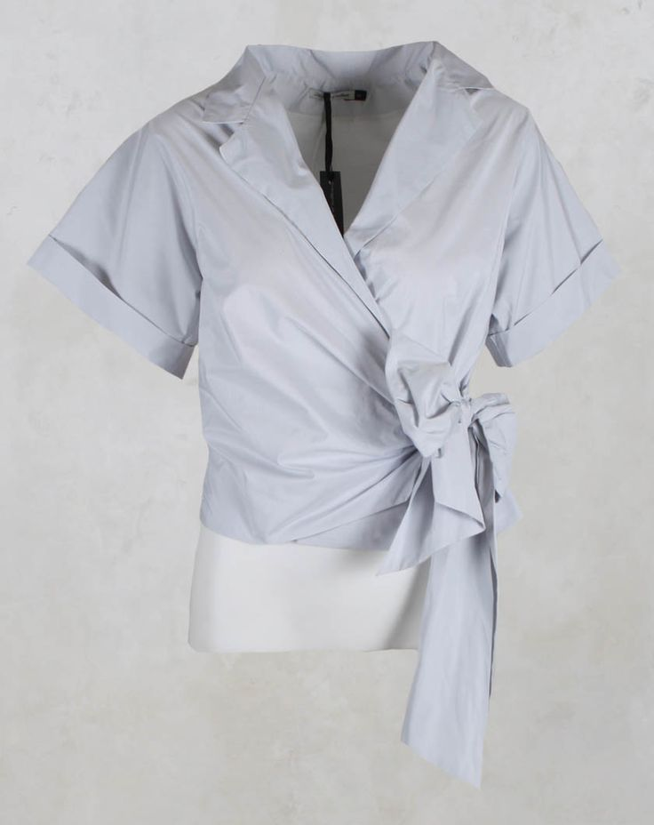 Wrap Top with Tie Fastening in Light Grey - Les Filles D'ailleurs