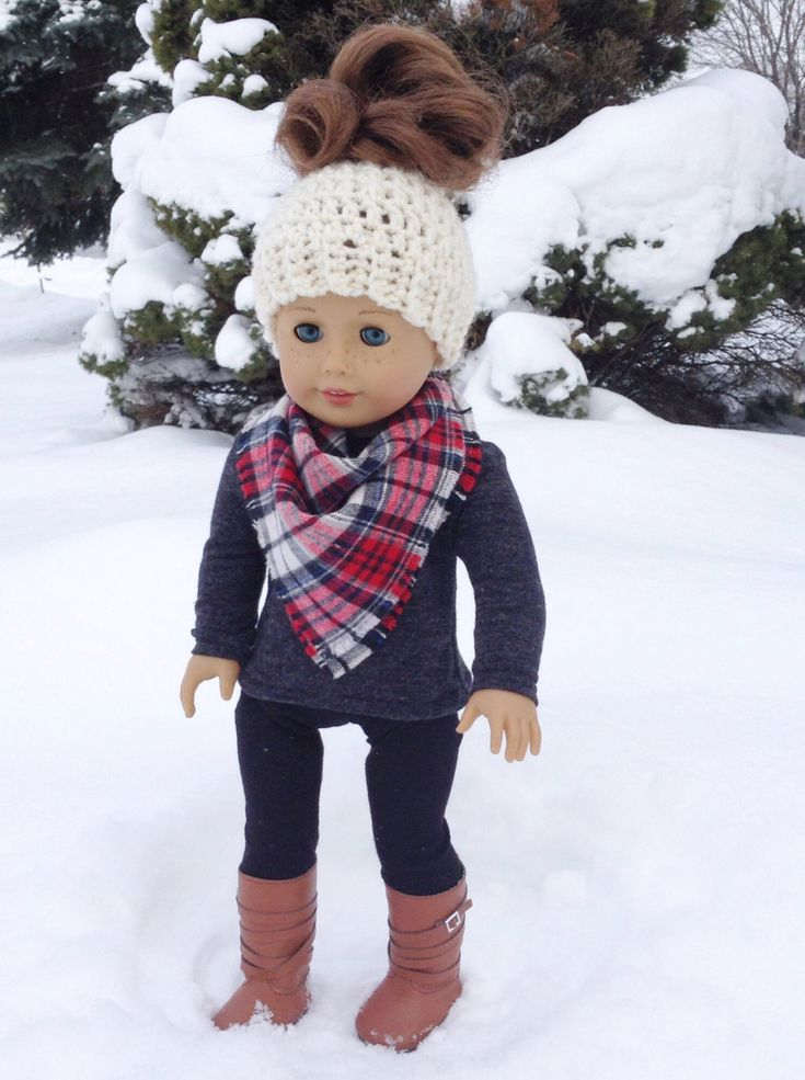 A personal favorite from my Etsy shop https://www.etsy.com/ca/listing/490721674/18-inch-doll-clothes-messy-bun-beanie
