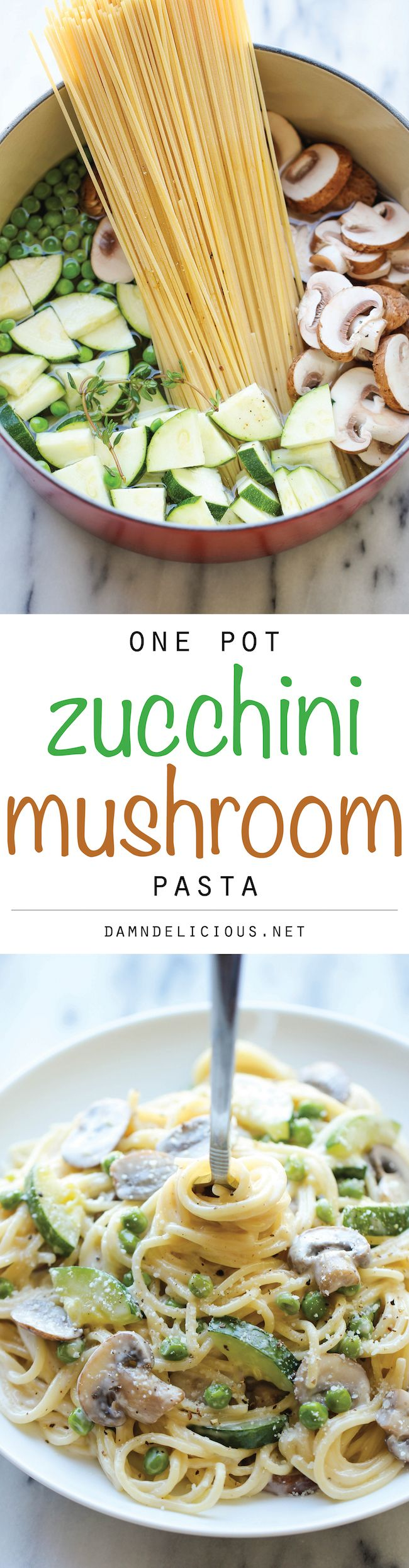 One Pot Zucchini Mushroom Pasta - A creamy, hearty pasta dish that you can make in just 20 min. Even the pasta gets cooked in the pot! I'd swap coconut milk for the cream but you don't even need to add cream you can use a little EVOO sea salt and pepper! Oh and I'd use Brown Rice Pasta (GF)