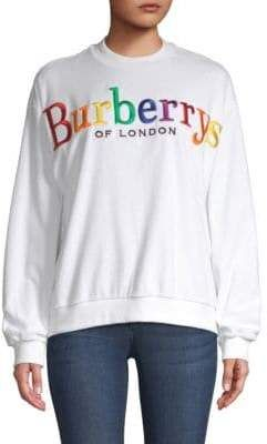 46236ad4 Burberry Rainbow Logo Sweatshirt. From the Saks IT LIST. PUTTING ON THE  KNITS.