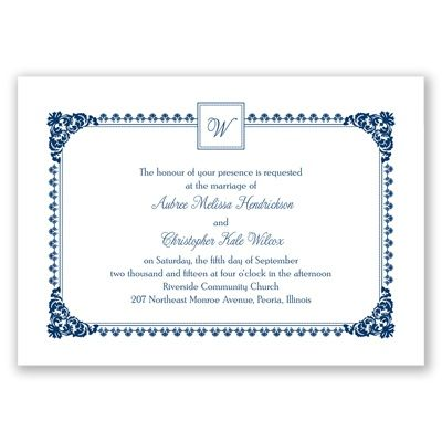 Davids bridal Invitations Serene Border - Marine - Invitation