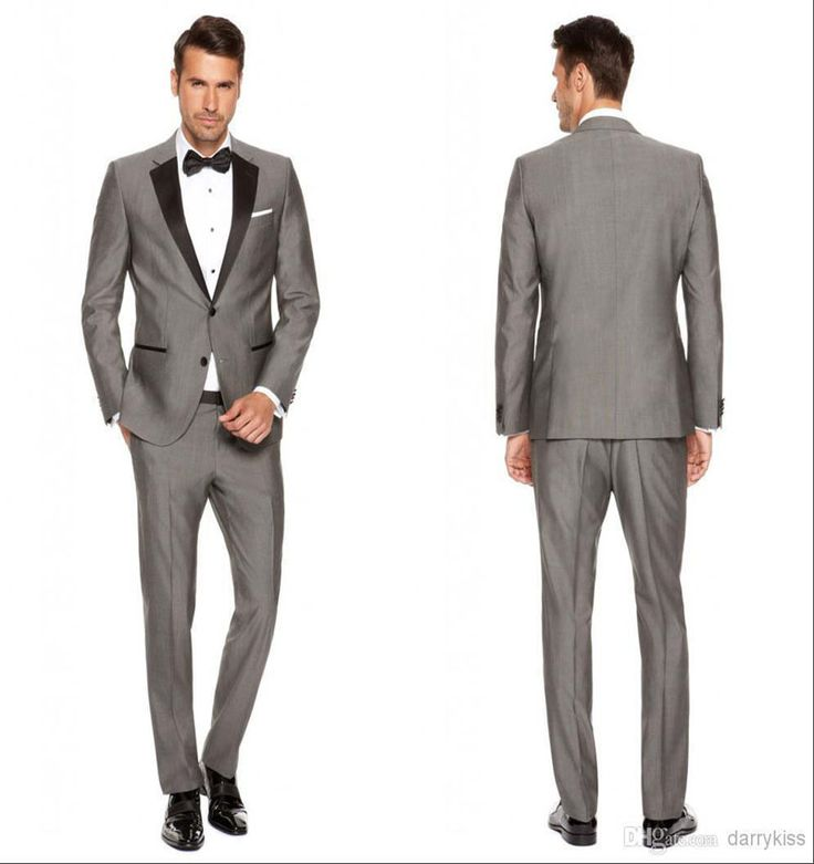 All grey tuxedo with black lapels