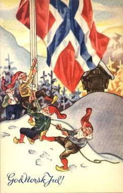 "God Norsk Jul Under the occupation the word ""Norsk"" was printed as a slap at the German occupiers, as well the Norwegian flags"