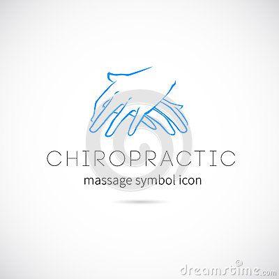 Symbole d icône de concept de vecteur de massage de chiropractie ou