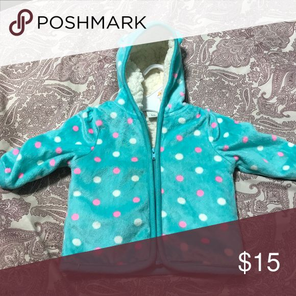 Polka dot zip up hoodie Polka dotted, light blue zip up hoodie. It's very soft in the inside and out! Worn only once Carter's Jackets & Coats