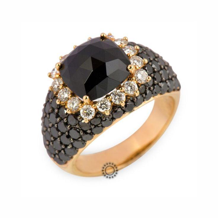 Μοναδικό πολύτιμο δαχτυλίδι από ροζ χρυσό 18 καρατίων με μαύρο όνυχα, λευκά & μαύρα διαμάντια | Δαχτυλίδια με ορυκτές πέτρες ΤΣΑΛΔΑΡΗΣ στο Χαλάνδρι #μαύρο #όνυχας #διαμάντια #μονόπετρο #δαχτυλίδι