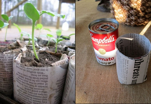 Great idea for seed starter pots - shape newspaper using a soup can