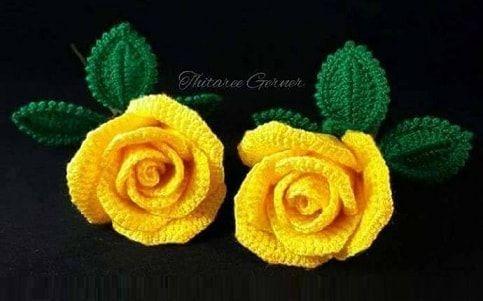 Желтые розы крючком. Мастер-класс в фотографиях, просмотрев который вы сможете своими руками связать букет очень красивых цветов.