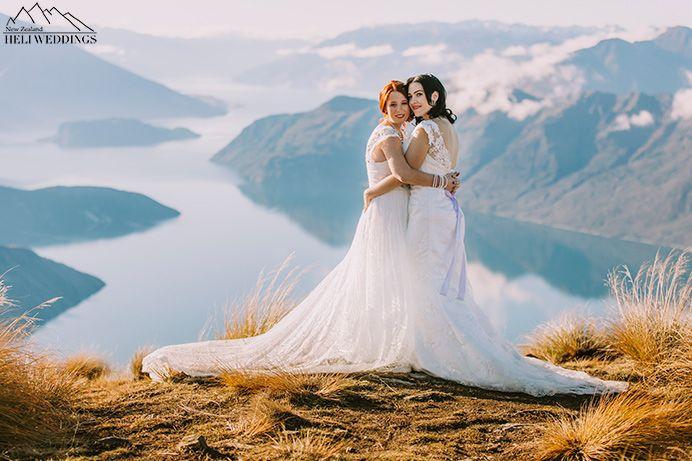 Samesex Wedding,same sex mountain wedding with two brides, heli wedding  Coromandel Peak, Wanaka