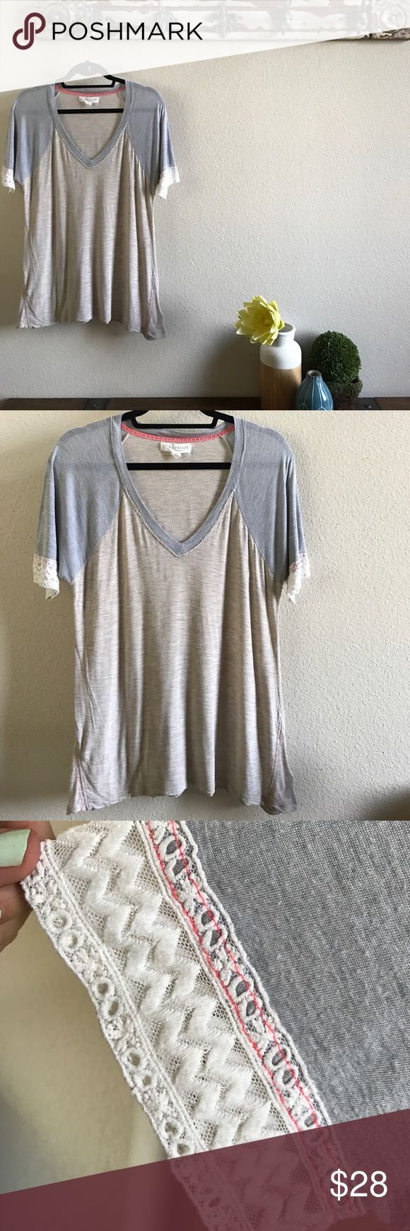 SCRAPBOOK Lace Sleeved V Tee The whole point of the brand is to look shabby chic so with that considered it's in lovely condition. No stains or shrinking of any kind. I now offer 20% off any 2! Anthropologie Tops Tees - Short Sleeve