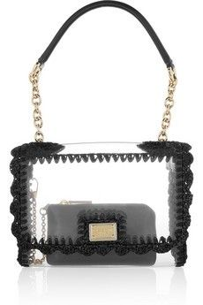 Raffia-trimed PVC bag by Dolce & Gabbana