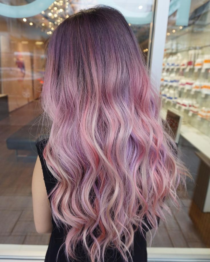 Ombre Purple Hair Color Long Hairstyle Curly Pastel Lavender Pink Light Cotton Highlight Long Hair Styles Purple Ombre Hair Pink Ombre Hair