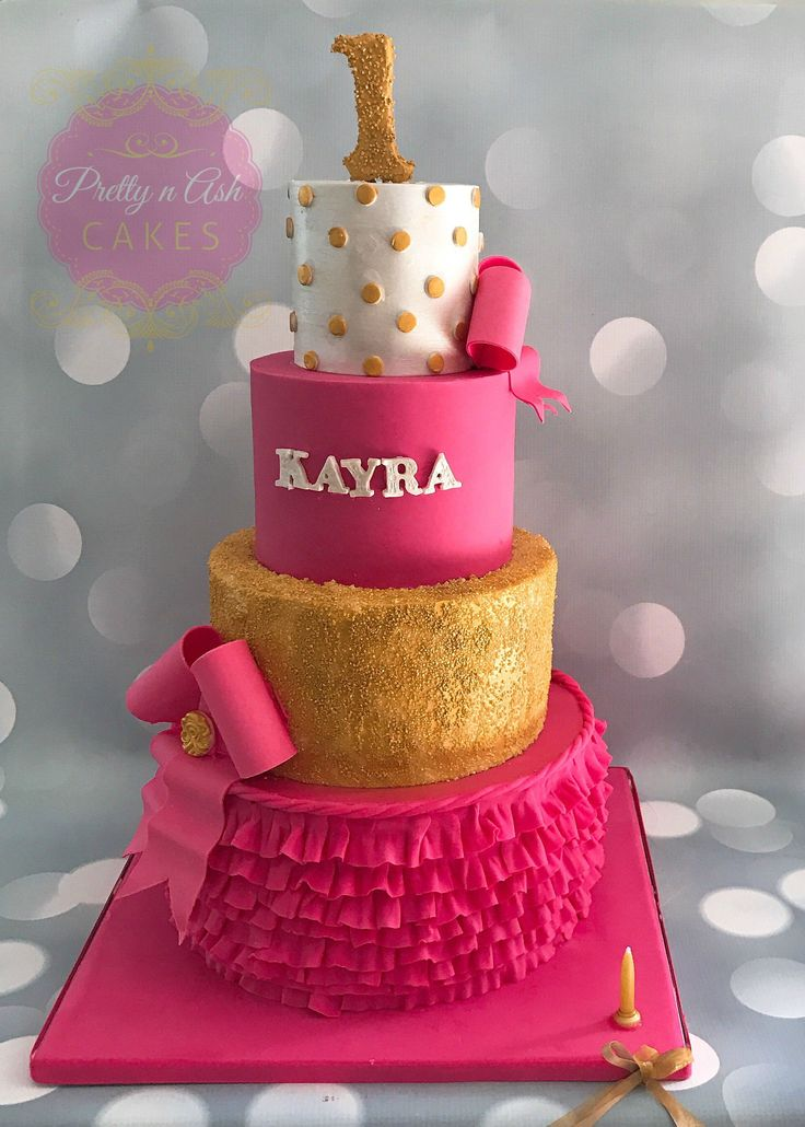 4 tiered Birthday Cakes for Girls in Pink and Gold