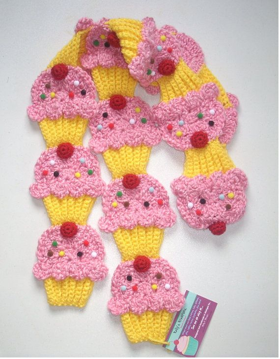 cup cake scarf: Rare Finding, Cotton Candy, Candy Yellow, Yellow Cupcakes, Finding Pink, Pink Cotton, Cherries Sprinkles, Cupcakes Rosa-Choqu, Crochet Cupcakes Scarfs