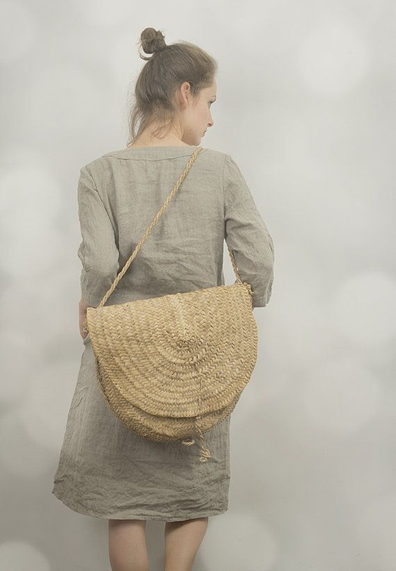 linen dress and straw bag