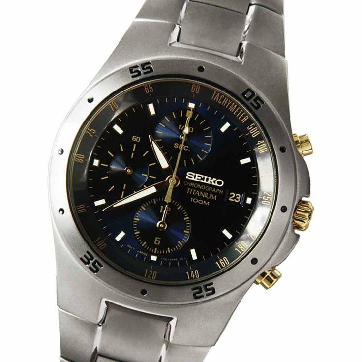 Seiko Titanium Quartz Chronograph Mens Watch SND449P1