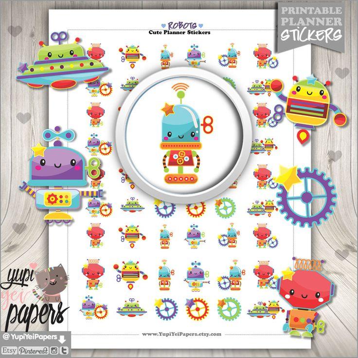 50%OFF - Robot Stickers, Planner Stickers, Printable Planner Stickers, Planner Accessories, Stickers, Boy Stickers, Sticker Sale