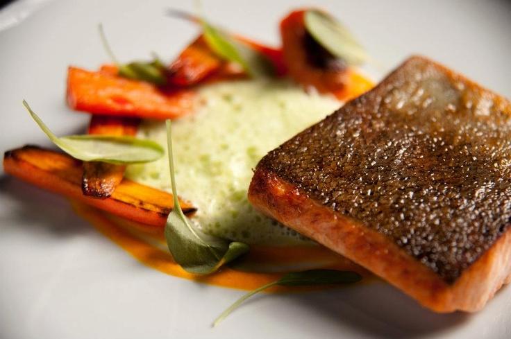 At Restaurant Sinclair - pan seared Nova Scotia trout, carrot-honey purée, lettuce cream & sorrel! #food #RestaurantSinclair
