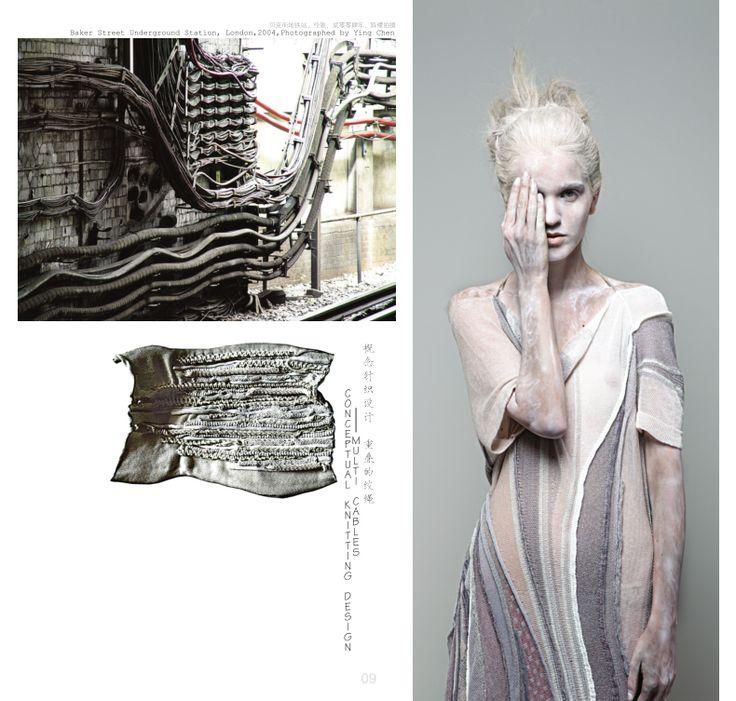 Fashion Portfolio - fashion design, knitwear development inspired by the British industrial revolution; fashion sketchbook layout // Ying Chen