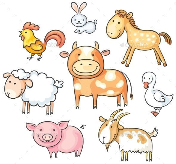 Set Of Cute Cartoon Farm Animals Animals En 2020 Dibujos