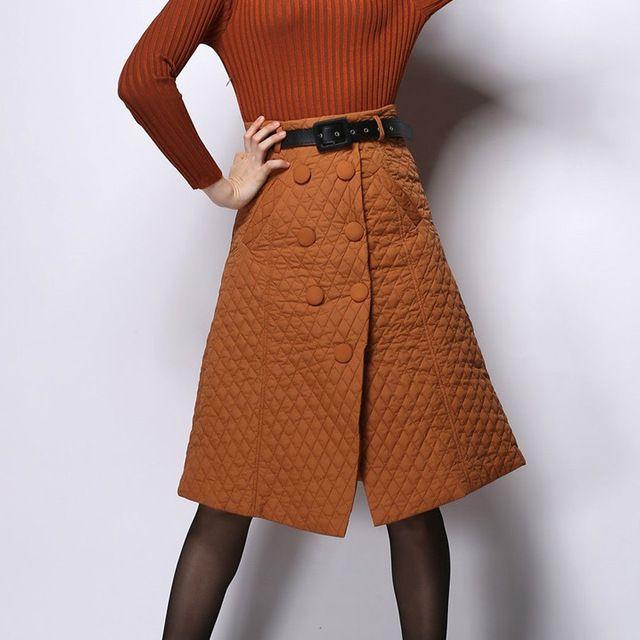 Стерео шотландка юбка с пуговица зима утолщаются стёганый юбки женщины в хлопок мягкий юбка до середины бедра с ремень и карманы