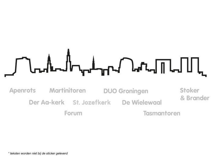 Muursticker skyline Groningen