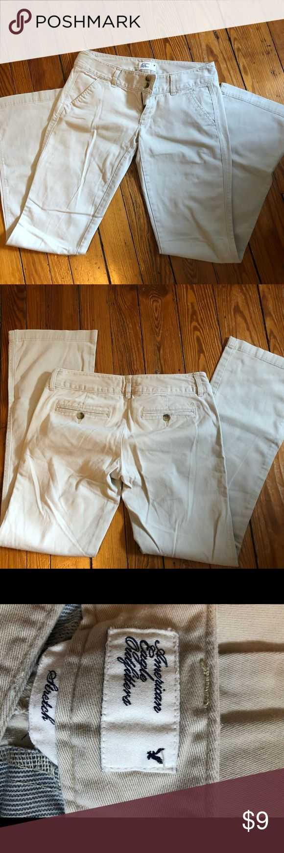 American Eagle Tan Pants Light tan bootcut khaki pants by American Eagle.  Size 4.  98% cotton 2% spandex, really soft brushed fabric.  AE knows how to make your tush look good! American Eagle Outfitters Pants Boot Cut & Flare