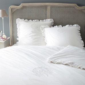 Parure de lit 220 x 240 cm en coton blanche CARPE DIEM