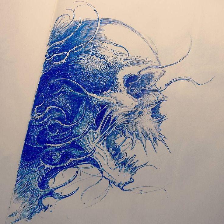 #skull #sketch #tattoosketch by nekronikon