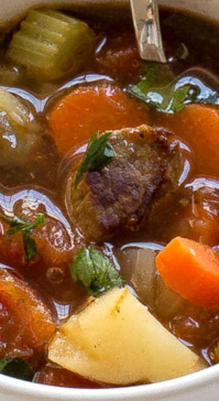 Vegetable Beef Soup ~ Super comforting, hearty and can be ready in less than 45 minutes!