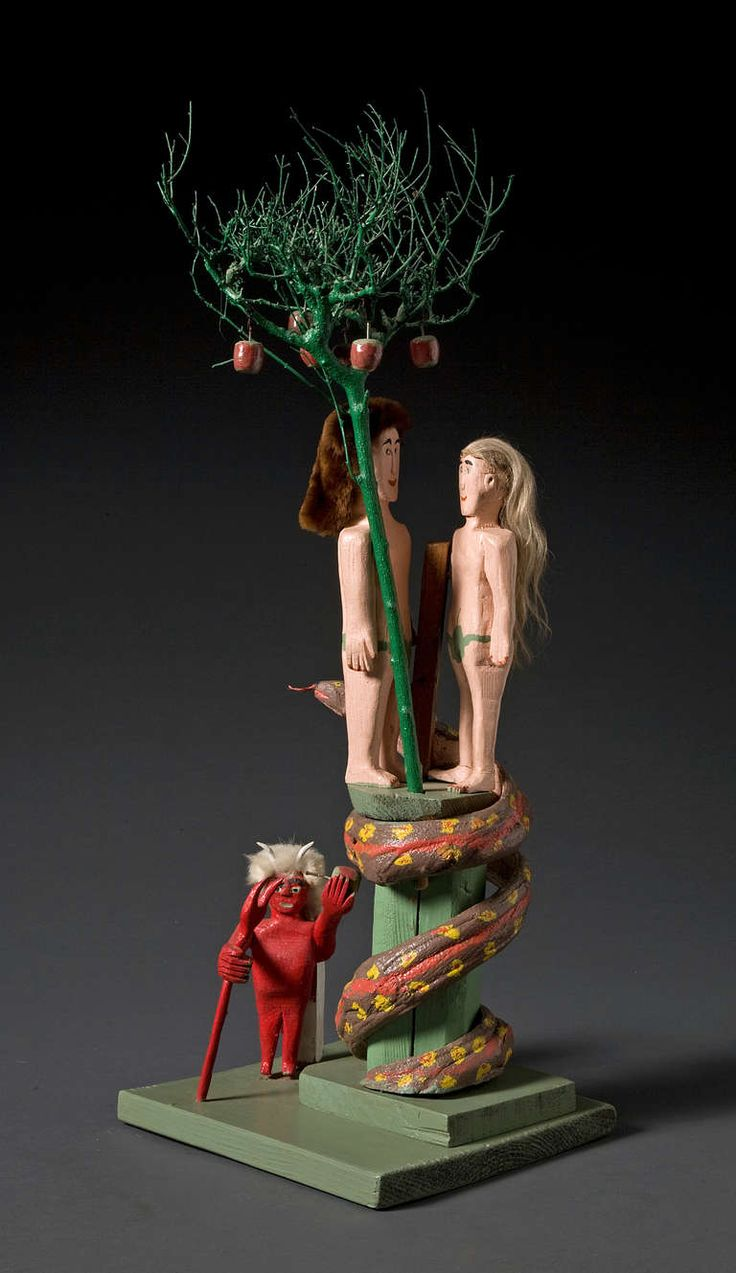Mexican paper mache vintage judas sculpture folk art at 1stdibs - Miles Carpenter Adam And Eve With Satan Modern Sculptureart