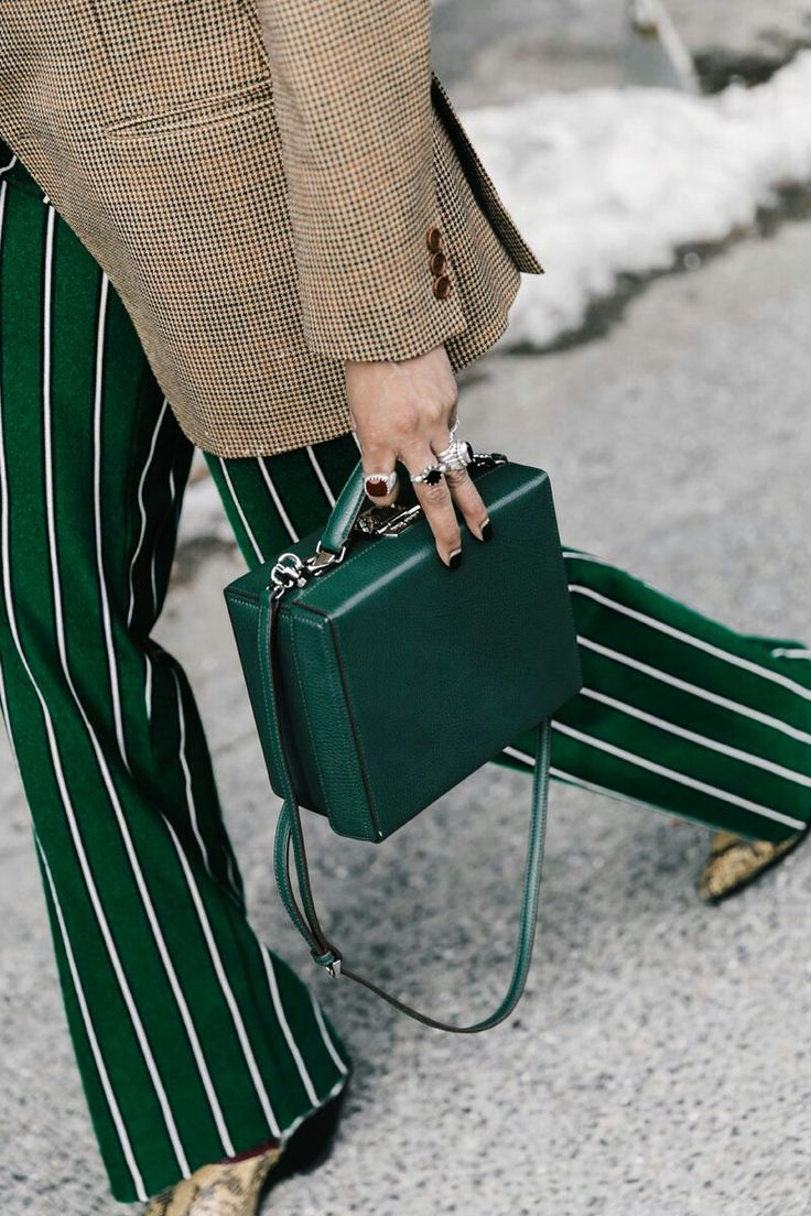 Green square handbag green and white pinstripe pants