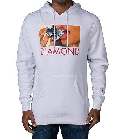DIAMOND SUPPLY COMPANY MENS DIAMOND LIPS HOODIE White