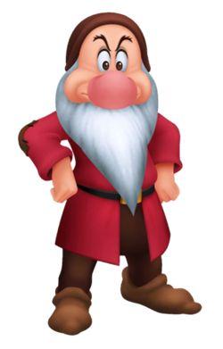 Grumpy dwarf from Snow White and the Seven Dwarfs Walt Disney animation movie