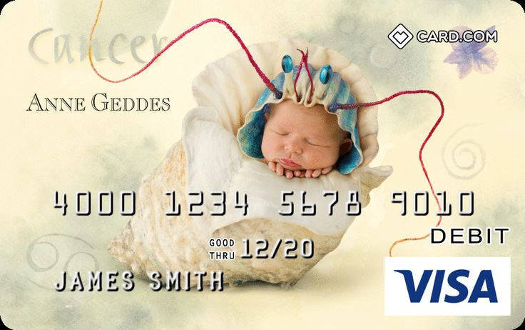 Carry your favorite Anne Geddes image with you with the Card.com PrePaid Visa Card! No credit check or minimum balance, and accepted everywhere Visa is!