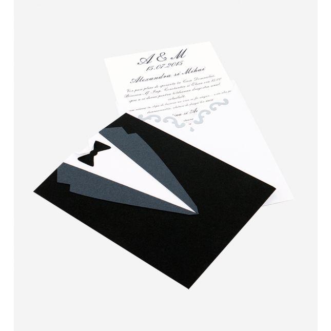 Invitatie nunta cu modele realizate din carton alb si negru aplicate manual pe ambele parti ale invitatiei
