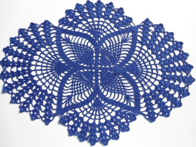 Crochet doily dark blue oval doilies  lace home by kroshetmania