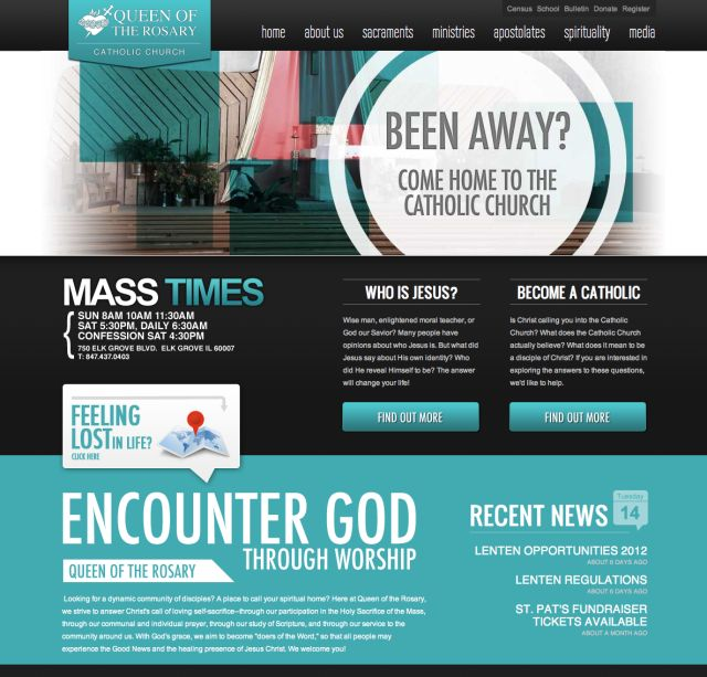 catholic website design qotr