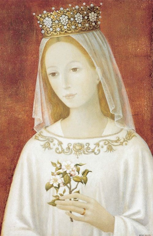 Our Lady holding an Apple Blossom by Bradi Barth. Notice the wedding ring...