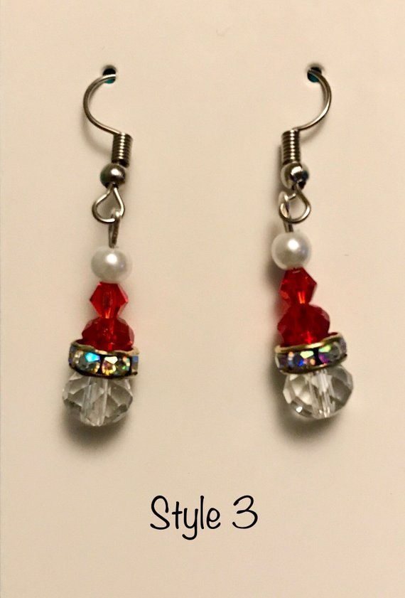Jewelry Holiday Glass Women/'s Gift Christmas Stocking Lampwork Glass and Earring Set-Christmas Handmade Stocking Cap