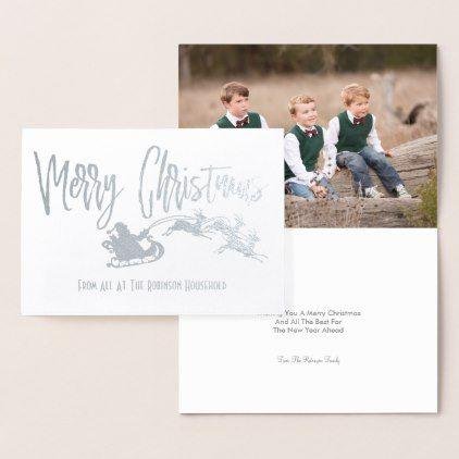Personalized Photo Merry Christmas Santa Sleigh Foil Card - Xmas ChristmasEve Christmas Eve Christmas merry xmas family kids gifts holidays Santa