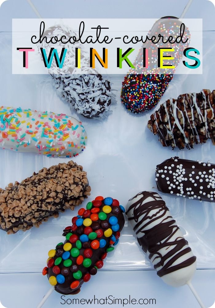 Chocolate Covered Twinkies from somewhatsimple.com... Great for book club or bunco!
